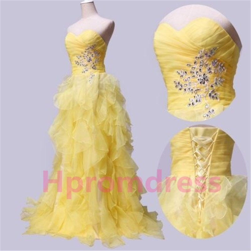 2014 New Fashion strapless beads prom party dress