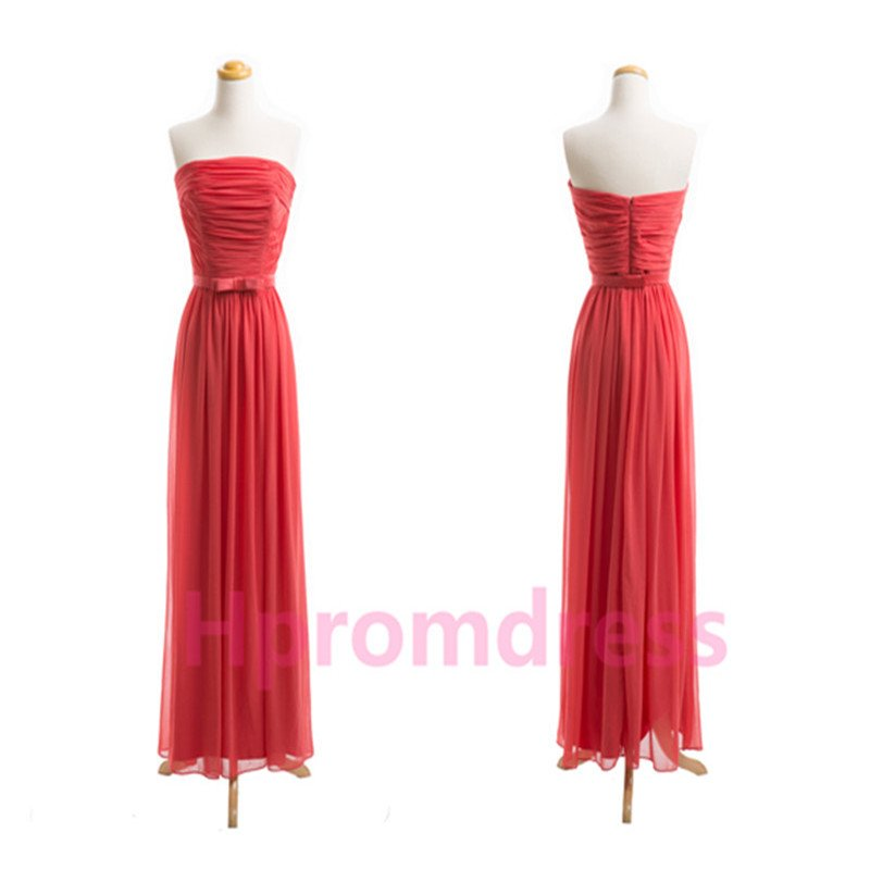 2015 New red chiffon PROM dress custom size color bridesmaid dresses