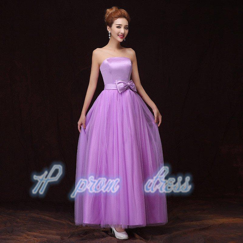 2015 New romantic purple strapless Wedding dress Sister group long prom Dress Bridesmaid Dress