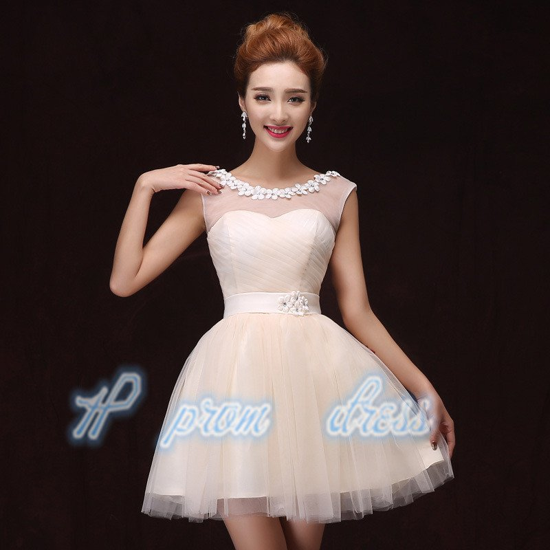 2015 New champagne spaghetti strap short prom Dress short knee length Bridesmaid Dress