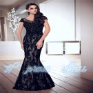 New Long Black Applique Backless Evening Dress Formal Prom Gown Party Pageant