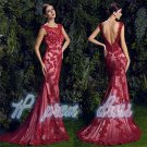 Attractive Red Lace Evening Dresses Mermaid Backless Formal Party Prom Gowns New