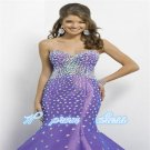 Strapless Beaded Lace Evening Dress Gown  Necklace Prom dress