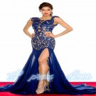 2015 Sexy Black Red Mermaid Lace Backless Wedding Party Evening Dress