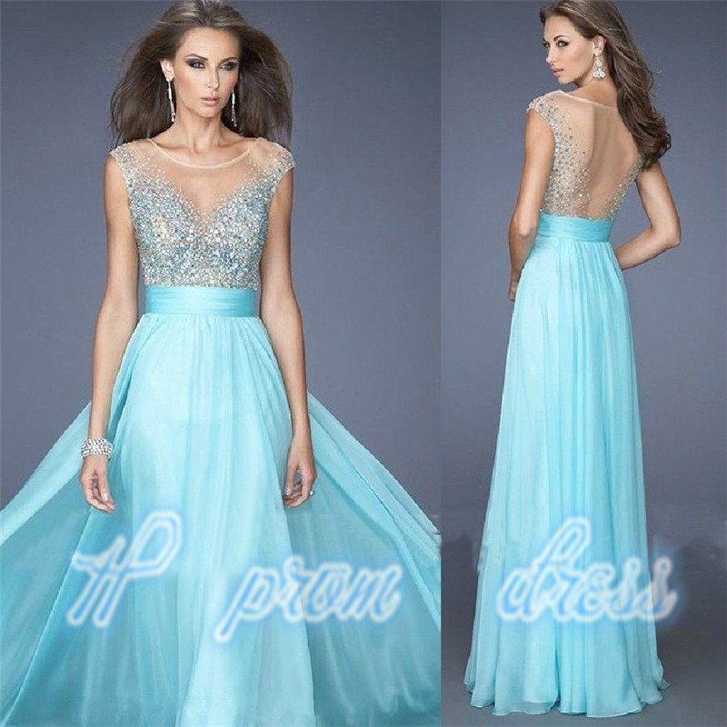 2015 Round neck deep V back in evening dress Prom Dresses