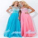 2015 New Long Chiffon Beaded Pageant Ball Party Evening Prom Gown Wedding Dress