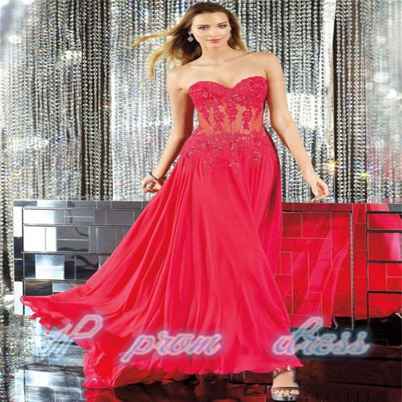 2015 Long Red Applique Evening Formal Prom Party Cocktail Dresses Wedding Gown