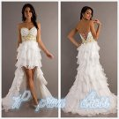 2015 New Hi-lo trailing Party Formal Cocktail Prom Dress Wedding Gown