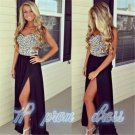 Black Chiffon Prom Dresses 2015 Long Slit Bead Evening Party Ball Gown