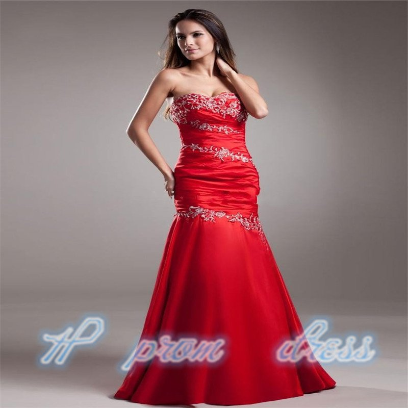 Sweetheart Applique Satin Sheath Red Long Evening Dress Party Formal Prom Gown