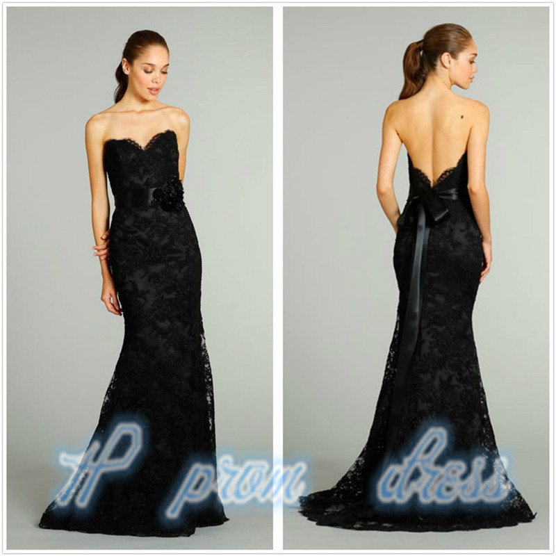 2015 Long Black Mermaid Formal Prom Party Dresses Wedding Gown