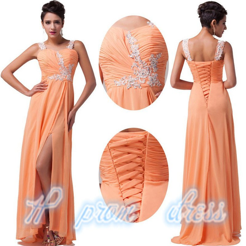 New Orange Long Ladies Chiffon Ball Gown Evening Prom Party Dresses Custom size