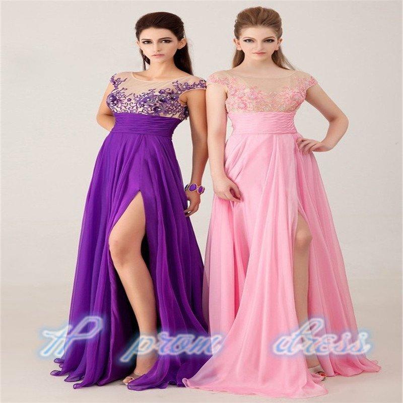 Floor Length Applique Cap Sleeve Cut-out Back Chiffon See Through Corset Long Prom Dresses