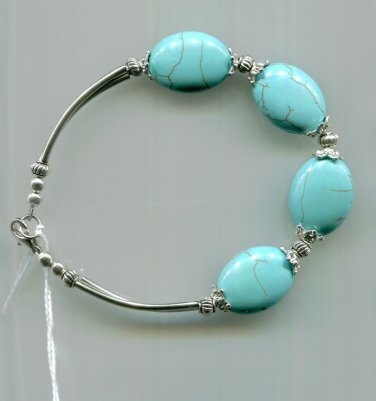 Bracelet Turquoise And Silvertone Metal Appr 8.5""