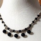 Necklace Beaded 18 inch Silver Tone and Black Onyx Beadsted 6-12mm
