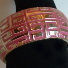 Bracelet Metal Hinged Bangle Dark Pink and Gold Tone