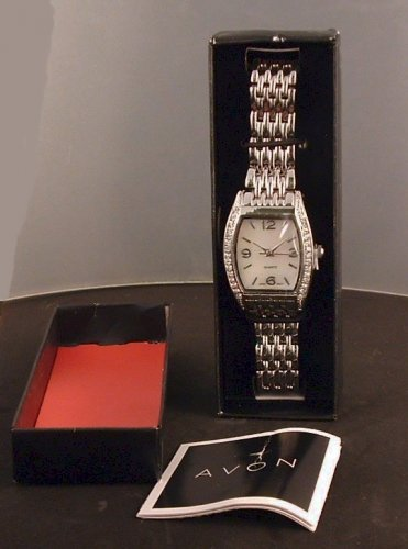 "Watch by Avon ""Exquisite""- Silvertone with Rhinestone Bezel and Mother of Pearl Dial"