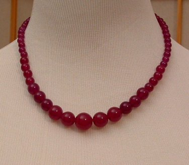 Necklace Beaded 18 inch Genuine Brazilian Rose Ruby Round Graduated 6-14mm