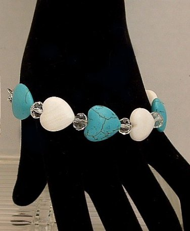"""Bracelet Heart Shaped White Jade, Turquoise And Crystal 8"""" An Original Creation By Kim"""