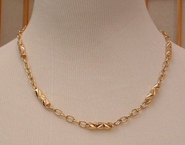 Necklace 14 K Gold Filled Laser Cut 6 sided Metal Bead and Links 20 inch
