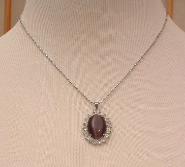 Necklace Purple Opal Crystal Gemstone 18 K White Gold Plated 16 inch Pentagon Chain