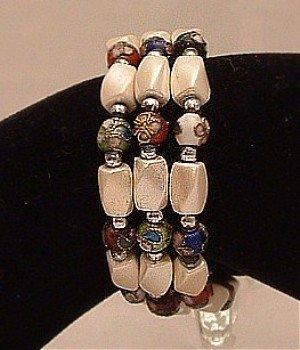 Bracelet Magnetic Hematite Wrap Bracelet-Necklace White Multi