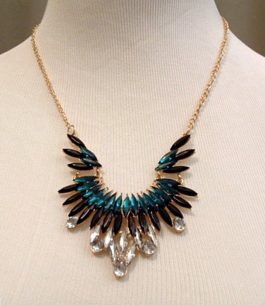 Necklace Beaded Acrylic 22 inch Green Black Clear