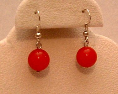 Earrings Red Jade Silver Tone Pierced Fish Hook Back