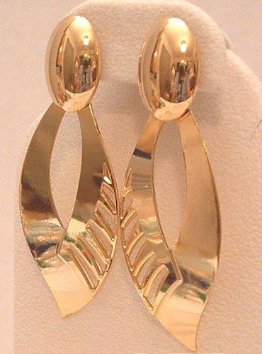Earrings Gold Tone Leaf Pierced Post