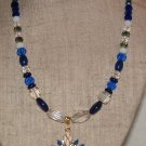 Necklace Beaded 21 inches Sapphire Blue And Crystal AB Original Creation By Kim
