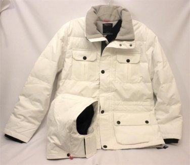NWT Nautica J43392 White Down Hooded Men's L Water Repellent Parka  Coat