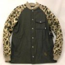 Burton Mens Medium Ackley Ash Gray Flannel Camo Down Ragland Sleeve Jacket NWT