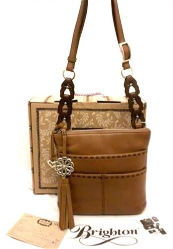 Brighton Koda Nutmeg Brown Leather Tassel Zip Messenger Crossbody Bag H4171N NWT