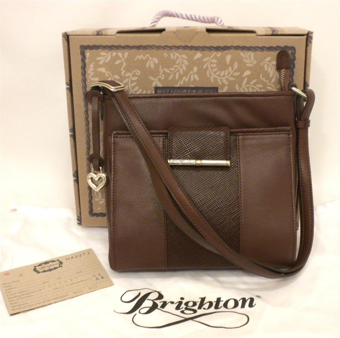 Brighton SAYAN Flap Wallet Organizer Cross Body Bag Java Brown Leather H4227J NWT