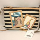 Brighton Stripe Navy White Canvas Laguna Pouch Crossbody Tan Leather E9877M NWT