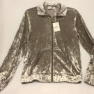 NWT Bugatchi Womens Medium Taupe Pewter Crushed Velvet Zip Jacket AL210E1