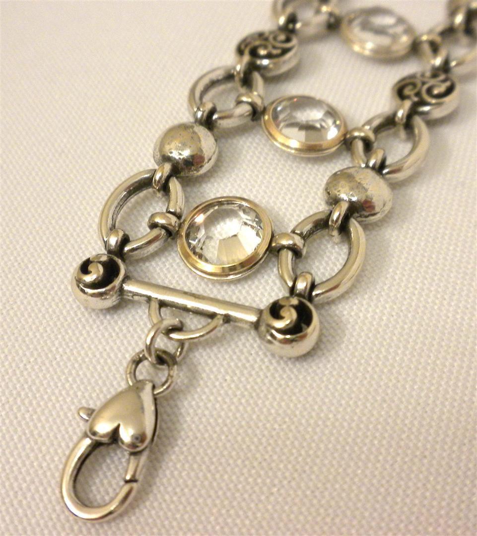 Brighton EUROPA Clear Swarovski Crystal Link Silver Plated Bracelet JB0210 NWT