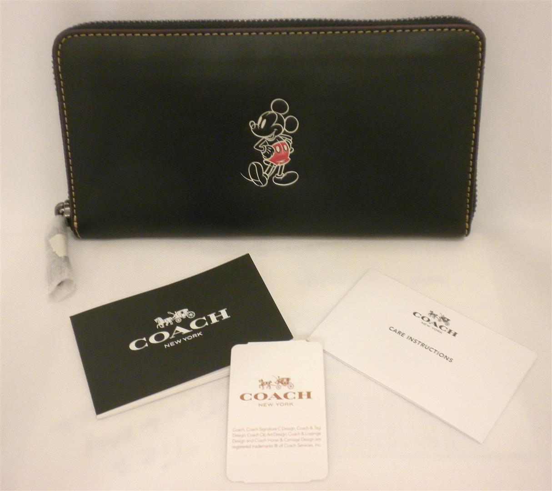 NWT Coach X Disney Accordion Zip Mickey Black Leather Wallet/ Phone case F58939
