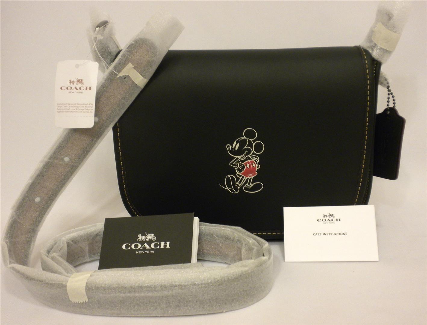NWT Coach X Disney Patrica 23 Mickey Black Glove Leather Flap Cross Body Messenger F59359