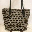 Michael Kors Jet Set Large TZ Snap Pocket Black/Beige Signature Jacquard Tech Tote