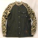 "Burton Men's XL Ackley Flannel Gray / Camouflage ""Ash Heather"" Down Ragland Sleeve Jacket New"