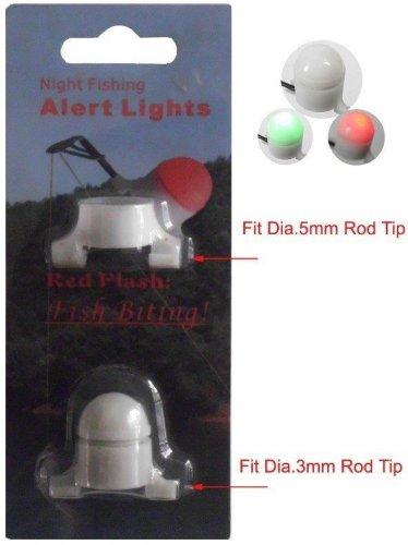 2 X Night Fishing Rod Tip Clip on Fish Bite Alarm LED LIGHT 2 IN 1  ROD SIZES