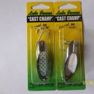 2 X Luhr Jensen Cast Champ NICKEL SILVER HOLOGRAPHIC 37 GRAMS = 1.3 OZ EACH
