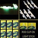 CLIP - ON LIGHT GLOW STICKS FLUORESCENT SIZE X LARGE 5 PACKS NIGHT FISHING