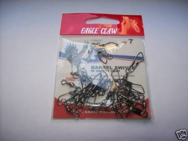 BARREL SWIVELS with SAFETY SNAP SIZE 7 PACK 20 PCS E.CLAW