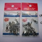 Eagle Claw CRANE  SWIVELS BLACK sz3   2 packs of 12