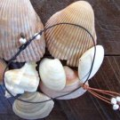 Large Hole Pearl and Leather Necklace Soul of the Sea Made In USA N217 ~