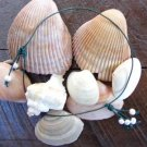 Large Hole Pearl and Leather Necklace Soul of the Sea Made In USA N218 ~