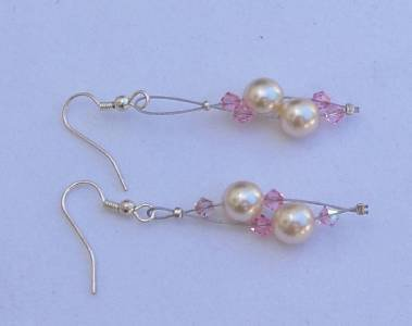 Soul of the Sea Seaside Pearl and Swarovski Crystals Earrings Made in USA Unique ~~~