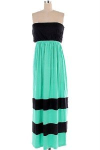 Womens Small Dress * NEW* Mint and Black Color Block Maxi ~~~~~~